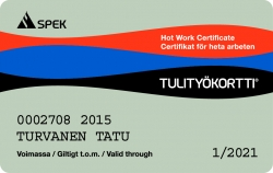 Hot work card lost one